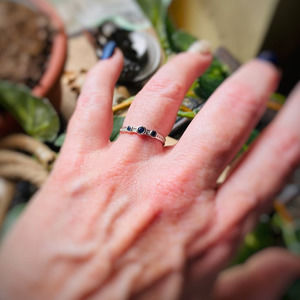 Sapphire and Cubic Zirconia Sterling Silver Ring